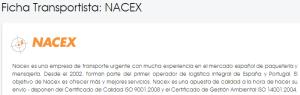 Ficha Transportista Nacex en Packlink.es