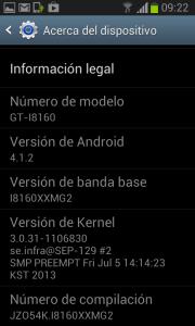 Pantalla del Samsung Galaxy ACE 2 actualizado a Jelly Bean 4.1.2