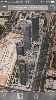 Captura pantalla Maps de iOS7 con Edificios 3D vista satélite FlipOver Madrid