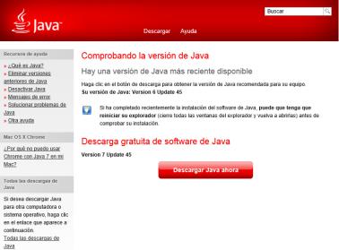 Imagen de pantalla verificando Java