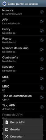 Configuración APN Euskaltel Android