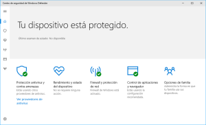 Caputa de pantalla de Windows 10 Creators Update Windows Defender