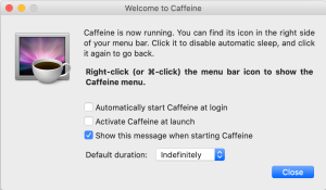 Caffeine ejecutado en Mac de Venan