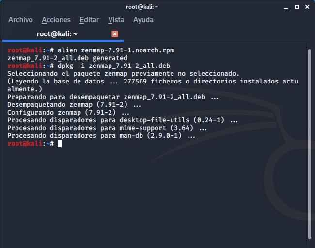 Convertir paquete descargado .rpm en .deb mediante alien e instalación paquete Zenmap en formato .deb