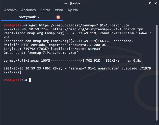 Descarga de paquete Zenmap desde web de Nmap